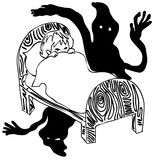 Monochrome ребенк испуганный в темноте иллюстрация вектора