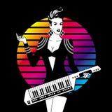 Сексуальная девушка с Keytar иллюстрация штока