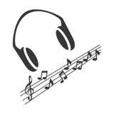 Monochrome силуэт с наушниками и музыкальными примечаниями Стоковое Фото