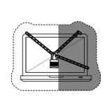 monochrome стикер контура с компьтер-книжкой с цепями и padlock Стоковое Фото