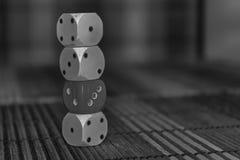 Monochrome стог кость 3 пластмассы dices и одно на предпосылке деревянной доски 6 кубов сторон с черными точками 1, 2, 3, 4 Стоковые Изображения