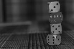 Monochrome стог кость 3 пластмассы dices и одно на предпосылке деревянной доски 6 кубов сторон с черными точками 3, 4, 5, 6 Стоковое Фото
