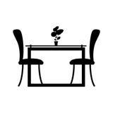 monochrome столовая силуэта с 2 стульями иллюстрация вектора