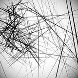Monochrome случайные хаотические нервные линии резюмируют художническую картину Стоковые Изображения