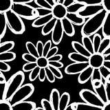 Monochrome цветки на безшовном черной предпосылки красивое Стоковые Фото