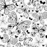 Monochrome черная безшовная картина Стоковая Фотография