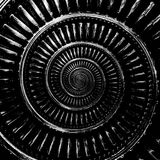 Monochrome черно-белая абстрактная спиральная фракталь картины предпосылки Металлической спиральной декоративной backgr элемента  Стоковое Изображение