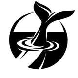 Monochrome шаблон вектора для логотипа с кабелем кита Стоковое Изображение RF