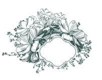 Monochrome эскиза рамки карты вектора цветка выгравированный иллюстрация штока