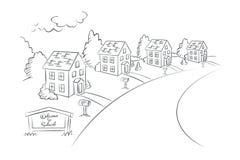 Добро пожаловать к пригороду - monochrome иллюстрации, вектору Стоковое Изображение RF