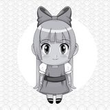 Monochrome abstract background with circular frame and cute anime girl with bow lace in long straight hairstyle. Vector illustration Royalty Free Stock Photo