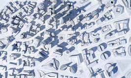 Monochrome abstract city from above view. 3d rendering Royalty Free Stock Photo