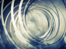 Monochrome abstract 3d spiral background. Monochrome abstract 3d toned spiral background with clouds Stock Photos