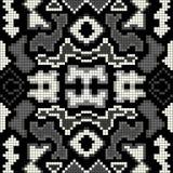 Monochrome abstract geometric background seamless pattern pixels Stock Photo