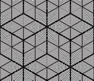 Monochrome abstract interweave geometric seamless pattern. Vecto Stock Photo