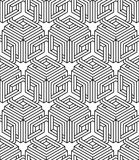 Monochrome abstract interweave geometric seamless pattern. Vecto Royalty Free Stock Image