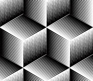 Monochrome abstract interweave geometric seamless pattern.  Stock Images