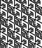 Monochrome abstract interweave geometric seamless pattern. Vector Stock Photos