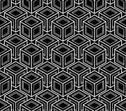 Monochrome abstract interweave geometric seamless pattern. Vector Stock Image