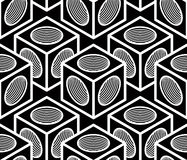 Monochrome abstract interweave geometric seamless pattern. Vector Stock Photo