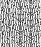 Monochrome abstract interweave geometric seamless pattern. Stock Image