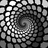 Monochrome abstract perspective spiral rotation ba. Ckground in op art design. Vector-art illustration Stock Photography