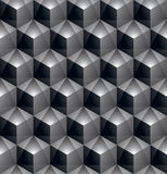 Monochrome abstract textured geometric seamless pattern with 3d Stock Images
