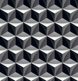 Monochrome abstract textured geometric seamless pattern with 3d. Geometric figures. Vector black and white textile backdrop Vector Illustration