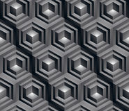 Monochrome abstract textured geometric seamless pattern with 3d. Geometric figures. Vector black and white textile backdrop Royalty Free Illustration