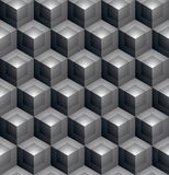 Monochrome abstract textured geometric seamless pattern with 3d. Geometric figures. Vector black and white textile backdrop stock illustration