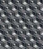 Monochrome abstract textured geometric seamless pattern with 3d. Geometric figures. Vector black and white textile backdrop Stock Photo
