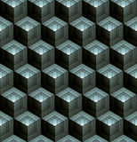 Monochrome abstract textured geometric seamless pattern with 3d. Geometric figures. Vector black and white textile backdrop Royalty Free Stock Photos