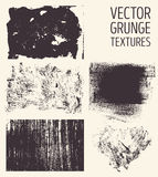 Monochrome abstract vector grunge textures. Set of hand drawn brush strokes and stains. Royalty Free Stock Image
