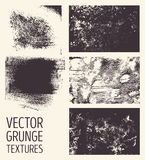 Monochrome abstract vector grunge textures. Set of hand drawn brush strokes and stains. Stock Photography