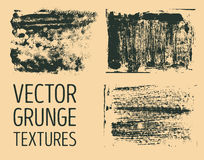 Monochrome abstract vector grunge textures. Set of hand drawn brush strokes and stains. Royalty Free Stock Photos