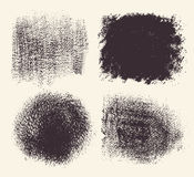 Monochrome abstract vector grunge textures. Set of hand drawn brush strokes and stains. Stock Image