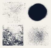 Monochrome abstract vector grunge textures. Set of hand drawn stains. Stock Images