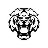 Monochrome angry tiger icon isolated on white background.  Desig Royalty Free Stock Photo
