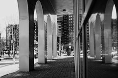 Monochrome architecture glass arches Royalty Free Stock Photo