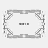 Monochrome art deco geometric horizontal border. On white background. International paper A4 format Stock Photo