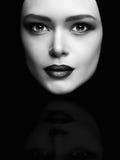Monochrome art fashion portrait of beautiful woman face like a mask Royalty Free Stock Photo