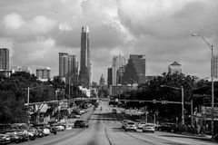 Monochrome Austin Skyline Congress avenue Soco Vew royalty free stock photography