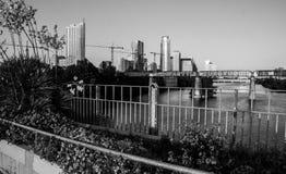Monochrome Austin Texas Downtown Over Town Lake Bridges Stock Image
