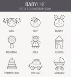 Monochrome baby icons in linear style Royalty Free Stock Photo