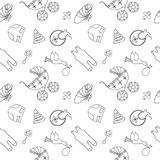 Monochrome baby seamless pattern Stock Images
