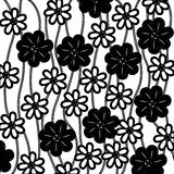 monochrome background of creepers with flowers Stock Photos