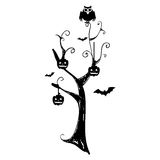 Monochrome background halloween tree with pumpkins and bats Royalty Free Stock Photo