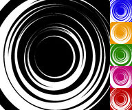 Monochrome background set with random concentric, radiating, rad Royalty Free Stock Photos