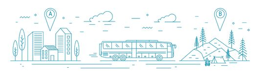 Monochrome banner template with bus riding from departure point towards forest camp at destination point. Touristic. Transportation, travel transport service vector illustration