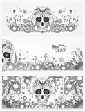 Monochrome banners of Dia de Muertos sugar skull with ornate on an abstract floral spring royalty free stock photo